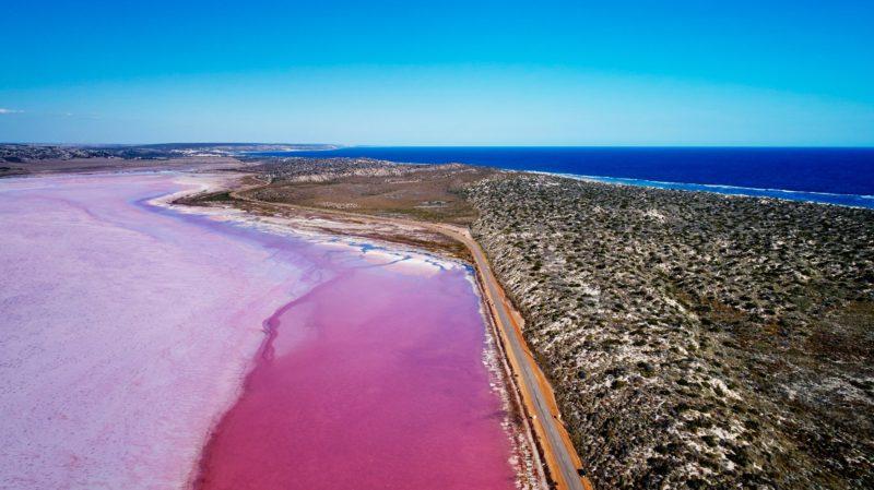Pink Lake (Hutt Lagoon) in Port Gregory, Western Australia