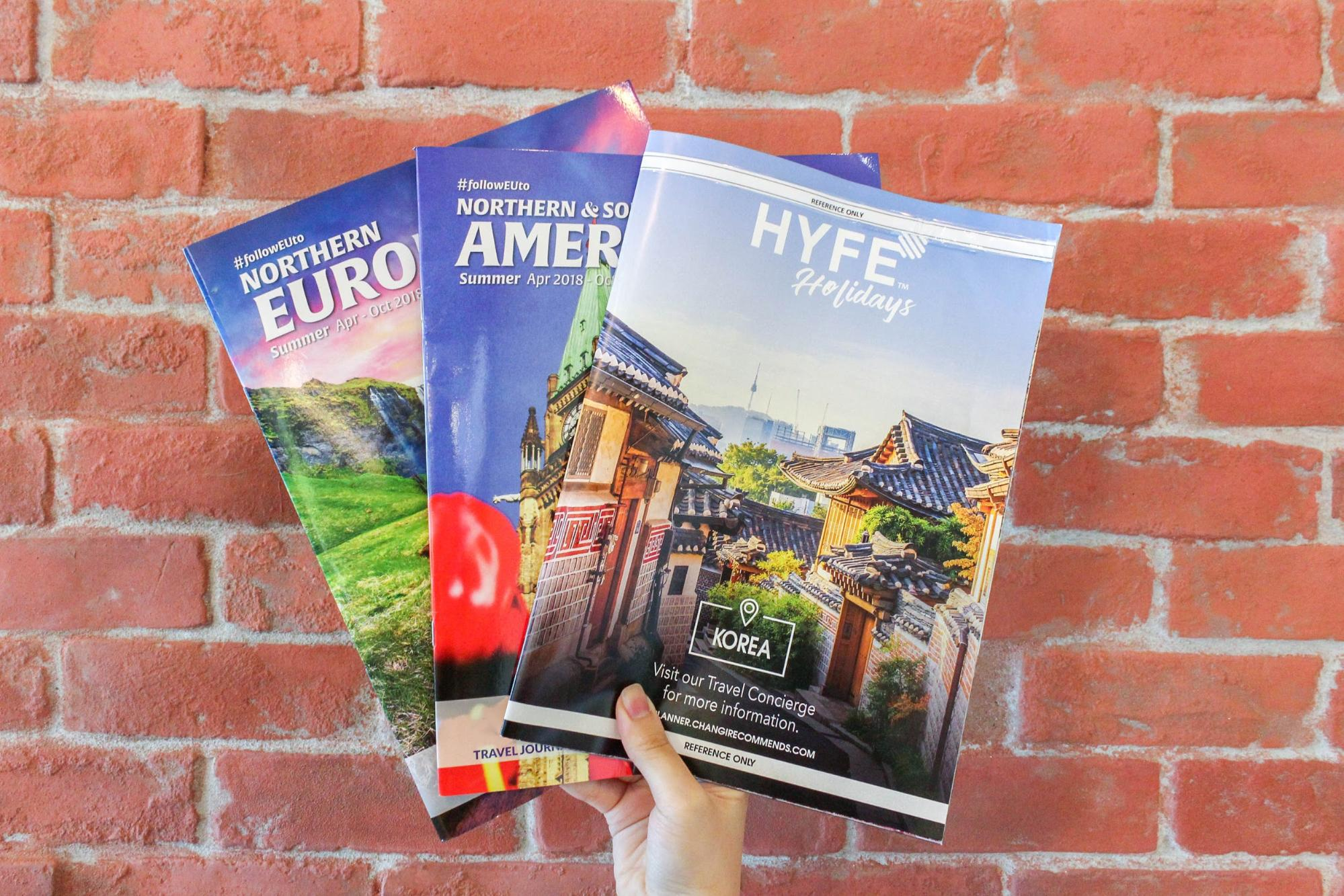 Travel brochures at HyfeCafe