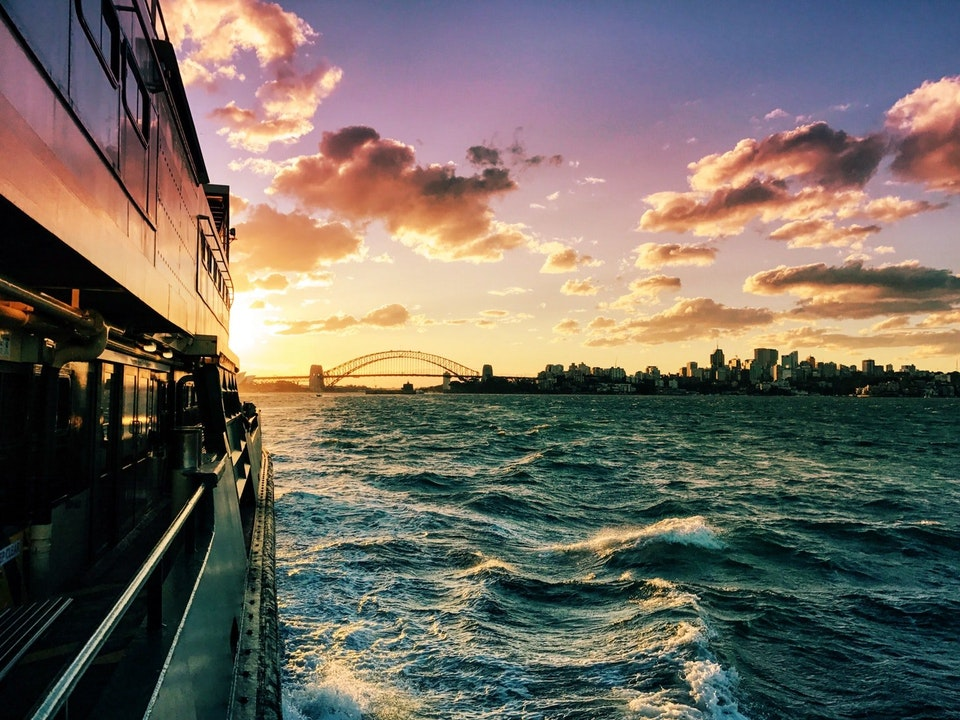 Sunset views from the Manly Ferry, Sydney
