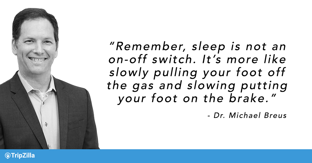 Remember, sleep is not an on-off switch. It's more like slowly pulling your foot off the gas and slowing putting your foot on the brake.