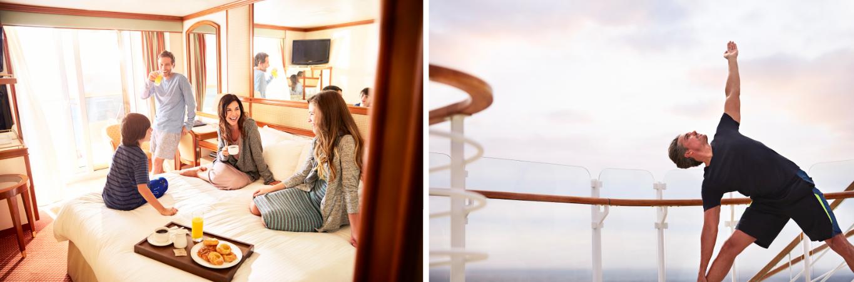 Princess Cruises 24-hour Room Service and yoga on deck